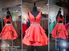 Coral V-Neck Short Homecoming Dress, Backless, satin, charming red homecoming dress, above-knee prom dresses