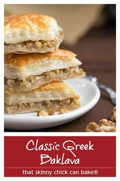 Gretchen's Classic Greek Baklava - My mom's baklava with layers of buttery filo & a walnut filling doused with orange blossom water kissed sugar syrup #baklava #pastry #Greek #dessert #filo #phyllo #thatskinnychickcanbake