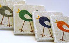 Bird Tile Coasters Whimsical. $20.00, via Etsy.