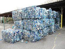 Polyethylene terephthalate - Bales of crushed blue PET bottles