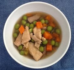 EZ Kine Pork Peas & Carrots Author: Ono Kine Recipes  Ingredients 2 lbs. pork, chopped 8 oz. frozen peas & carrots 1 small onion (your preference) 2 cans beef broth (mix with 1 T. corn starch) 1 clove garlic, minced 1 tsp. ginger, minced Salt & pepper to taste  Boil pork in water until cooked and drain. In a large pot on medium heat add in a little cooking oil on bottom of pot, toss in onions, let cook for 1-2 minutes. Ono Kine Recipes, Garlic Minced, Large Pots, Beef Broth, Frozen Peas, Cooking Oil, Corn Starch, Onions, Carrots