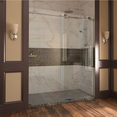 Shop DreamLine Enigma 68-in to 72-in W x 79-in H Frameless Sliding Shower Door at Lowes.com