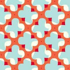 Orange, Blue, Red & White Geometric Pattern