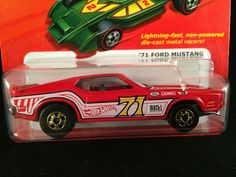 2011 Hot Wheels Hot Ones 71 FORD MUSTANG Red Mach I W1571 1:64 w/ PROTECTO #HotWheels #Ford