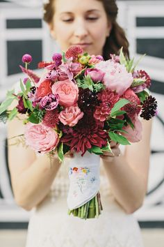purple-pink bouquet, photo by Clean Plate Pictures http://ruffledblog.com/romantic-brooklyn-winery-wedding #flowers #bouquet #wedding