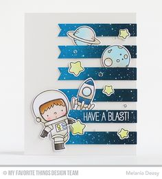 Space Explorer Stamp Set and Die-namics, Stitched Sentiment Strips Die-namics - Melania Deasy #mftstamps