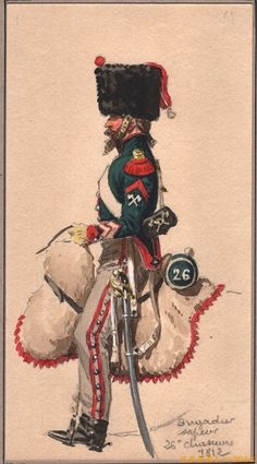 French; 26th Chasseurs a Cheval, Brigadier sapper, Tenue de Campagne, 1812