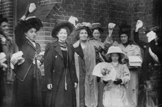 1908: Emmeline Pankhurst (1858–1928, centre), and her daughter Christabel Harriette (1880–1958, third from left), being welcomed by friends and supporters upon their release