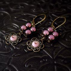 Delicacy Rhinestone Earrings  Rose Pink Opal by MiaMontgomery