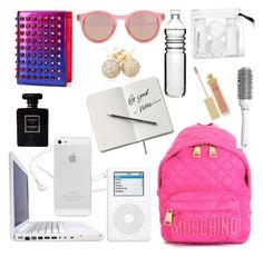 """""""What's in My Backpack?"""" by bklana ❤ liked on Polyvore featuring Moschino, DUO, Hershesons, AERIN, Christian Louboutin, Dot & Bo, Le Specs, Loushelou, Chanel and H&M"""