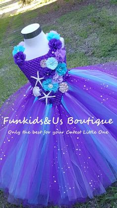 Under The Sea Mermaid Tutu Dress - mermaid birthday dress Ocean Themed Party Herzlich Willkommen Bab Diy Tutu, Tutu En Tulle, Tulle Dress, Mermaid Dresses, Flower Girl Dresses, Princess Tutu Dresses, Disney Dresses, Lace Headbands, Purple Lace