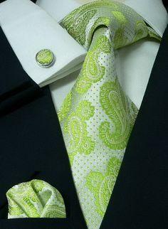 59G Bacrelli Wedding Lime Green 100% Silk Tie Set « Mens Silk Ties | Wedding Ties | Ascots | Best Bowties