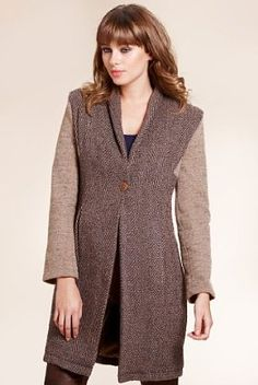 M - Limited Collection Herringbone Striped Coat with Wool