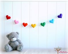 Rainbow Banner / Garland / Bunting - Felt Hearts - Nursery Decor - Birthday Decor - MADE TO ORDER - Rainbow banner / garland / bunting – felt hearts – Nursery decor – birthday decor on Etsy, 20 - Heart Banner, Heart Garland, Bunting Garland, Diy Girlande, Diy Birthday Decorations, Rainbow Baby, Rainbow Nursery, Rainbow Birthday, Rainbow Heart