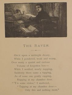 The Raven by Edgar Allen Poe Quoth The Raven, Edgar Allen Poe, Never Be Alone, Book Nerd, Macabre, Short Stories, Book Worms, Poems, Tumblr