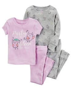 In coordinating prints, this 4-piece set includes two tops and two pants that can be mixed and matched for a variety of comfy bedtime options!