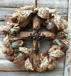 Rustic Western Decor | Rustic Western Inspired Cross Wreath by HomemadeSouthern on Etsy, $125 ...