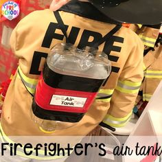 DIY air tank for the Fire Station dramatic play! It's so much for a fire safety theme or community helpers theme. Fire Safety For Kids, Fire Safety Week, Dramatic Play Area, Dramatic Play Centers, Firefighter Dramatic Play, Firefighter Crafts, Fire Prevention Week, Community Helpers Preschool, Community Workers