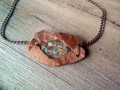 Smile Pendant Necklace Cut Glass Iridescent by JennieVargasJewelry,