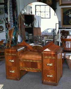 1930-1940's Art Deco Wood Inlay Vanity Dressing Table with Round Mirror on Etsy, $325.00