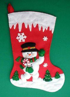 Manualidades Bonoritas Bordados Tejidos Macrame Baby Christmas Stocking, Christmas Stocking Decorations, Felt Christmas Stockings, Felt Stocking, Diy Christmas Cards, Christmas Sewing, Diy Christmas Ornaments, Christmas Snowman, Christmas Wreaths
