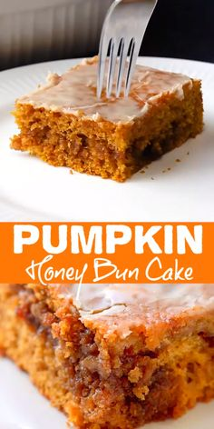 Pumpkin Honey Bun Cake - a gooey brown sugar and walnut filling in the center of a moist pumpkin cake topped with a simple glaze. Canned Pumpkin Recipes, Pumpkin Cake Recipes, Pumpkin Dessert, Easy Cake Recipes, Baking Recipes, Pumpkin Cakes, Pumpkin Cheesecake, Pumpkin Gooey Butter Cake, Pumpkin Crunch Cake