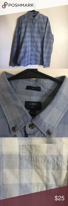 J. Crew Jaspe Slim Fit Large Checkered Button Up Preowned-Light Wear  Print: Checkered  Material: 100% Cotton  Approximate Measurements (inches):  Shoulders: 19 Pit to Pit:22 Sleeve Length:26 Shirt Length: 29 J. Crew Shirts Dress Shirts