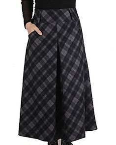 LISASTOR Womens Winter Wool Plaid High Waist I Love Skirts Flare Pleated Swing Skirt L Gray >>> Be sure to check out this awesome product. Long Plaid Skirt, Plaid Skirts, Midi Flare Skirt, Pleated Skirt, High Waisted Skirt, Dress Skirt, Church Outfits, Church Clothes, Swing Skirt