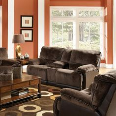 Catnapper Escalade Leather Reclining Loveseat in Chocolate with Power Option