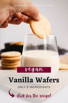 These easy-to-make, 9-ingredient vegan vanilla wafers are the perfect crispy cookie that goes perfectly with any hot drink, and works well in a number of desserts. With minimal prep time and just a handful of ingredients, vanilla wafers are one of the easiest cookies you can make at home. #vegancookies #veganwafers Vegan Cookie Recipe, Easy Vegan Cookies, Vegan Desserts, Vegan Recipes, Snack Recipes, Dessert Recipes, Vegan Christmas, Christmas Recipes, Steel Cut Oat Cookies