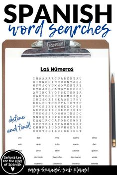 "Define & find up to 28 Spanish numbers between 1 and 100 with TWO word searches. Students first define the number, then find it. Fun & easy, low stress activity. No prep activity. Great for a warm up, fast finishers, an after the test activity or easy sub plans. Use with middle or high school Spanish classes. Teachers are saying: ""My students love word searches."" and ""Great for sub plans!"" #spanishsubplans #spanishworksheets #spanishvocabulary #spanishnumbers Learn Spanish Free, Learning Spanish For Kids, Spanish 1, Spanish Words, Spanish Language Learning, Teaching Spanish, Middle School Spanish, Elementary Spanish, Spanish Worksheets"