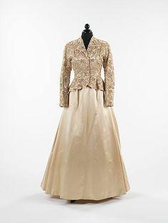 Evening ensemble House of Balenciaga (French, founded 1937) Designer: Cristobal Balenciaga (Spanish, 1895–1972) Date: ca. 1950 Culture: French Medium: silk, rhinestones