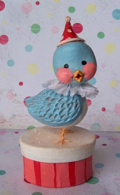 Christmas Joy Bluebird A Folk Art Bluebird in Paper Clay