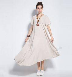 Anysize linen irregular hem maxi dress plus size dress by AnySize