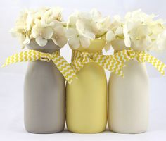 Yellow and Gray Painted Milk Bottles Baby Shower Decorations  Vases Nursery Ribbon  Hostess Gifts Mason Jars