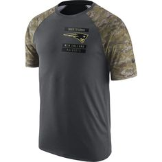 New England Patriots Men s Nike Anthracite Salute to Service 2017  Performance Raglan T-Shirt e3e1b524e