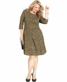 Elementz Plus Size Printed A-Line Dress