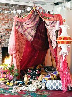 boho gypsy curtain tent chill zone