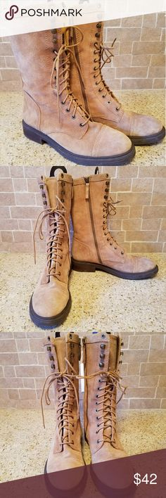 NWOT Suede Combat Boots Absolutely gorgeous!! Buttery soft tan suede, never worn. Nine West Shoes Combat & Moto Boots