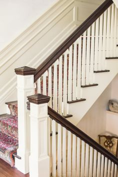 Light painted stairway with a rug on the steps. Banisters, Stair Railing, Cumberland Island, Ann Street Studio, 1920s House, House Stairs, Hall, Home And Garden, New Homes