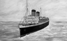 A black and white acrylic of the RMS Queen Elizabeth