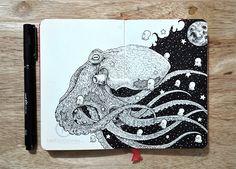 Los detallados dibujos a tinta de Kerby Rosanes