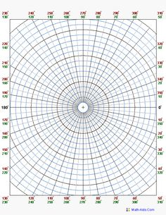 Polar Coordinate Graph Paper. You may select different angular coordinate increments 2, 5 or 10 degrees.