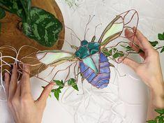 stained glass panel || bug suncatcher || original design || housewarming gift || birthday gift || ready to ship || renter friendly