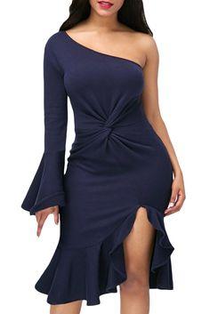 Her Fashion Navy Twist & Ruffle Accent OneShoulder Stylish Prom Dress Women's Fashion Dresses, Sexy Dresses, Dresses For Sale, Dresses Online, Casual Dresses, Dresses With Sleeves, Sheath Dresses, Sleeve Dresses, Evening Dresses