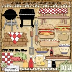 BBQ Time 1 - Whimsy Primsy Country Clip Art Download