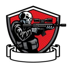 Skull soldier shooting the assault rifle Vector Image Team Logo Design, Logo Desing, Assault Rifle, Illustrator Ai, Logo Esport, Arte Do Hip Hop, Spartan Logo, Drop Logo, Art Studio Design