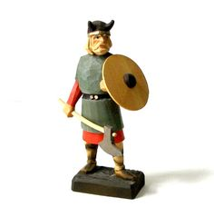 """$75.00 Vintage Henning Norway Hand Carved Wood Viking Warrior Figure 6 1/2"""" tall  Scandinavian Excellent Condition"""