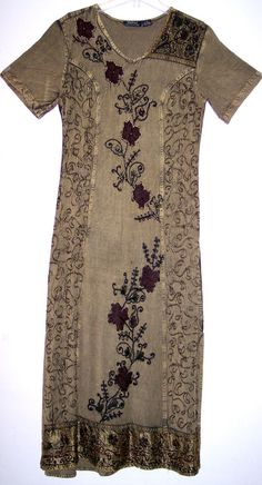 MPH Dress S Beaded Soutache Embroidered Flowy Rayon Grunge Boho Hippie Festival #MPH #Shift #Casual
