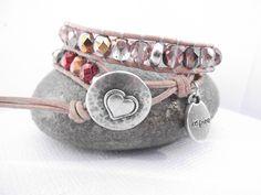 banderama - 2-reihiges Wickelarmband mit bunten xxl Glasschliffperlen, Silberelementen und Silberknopf